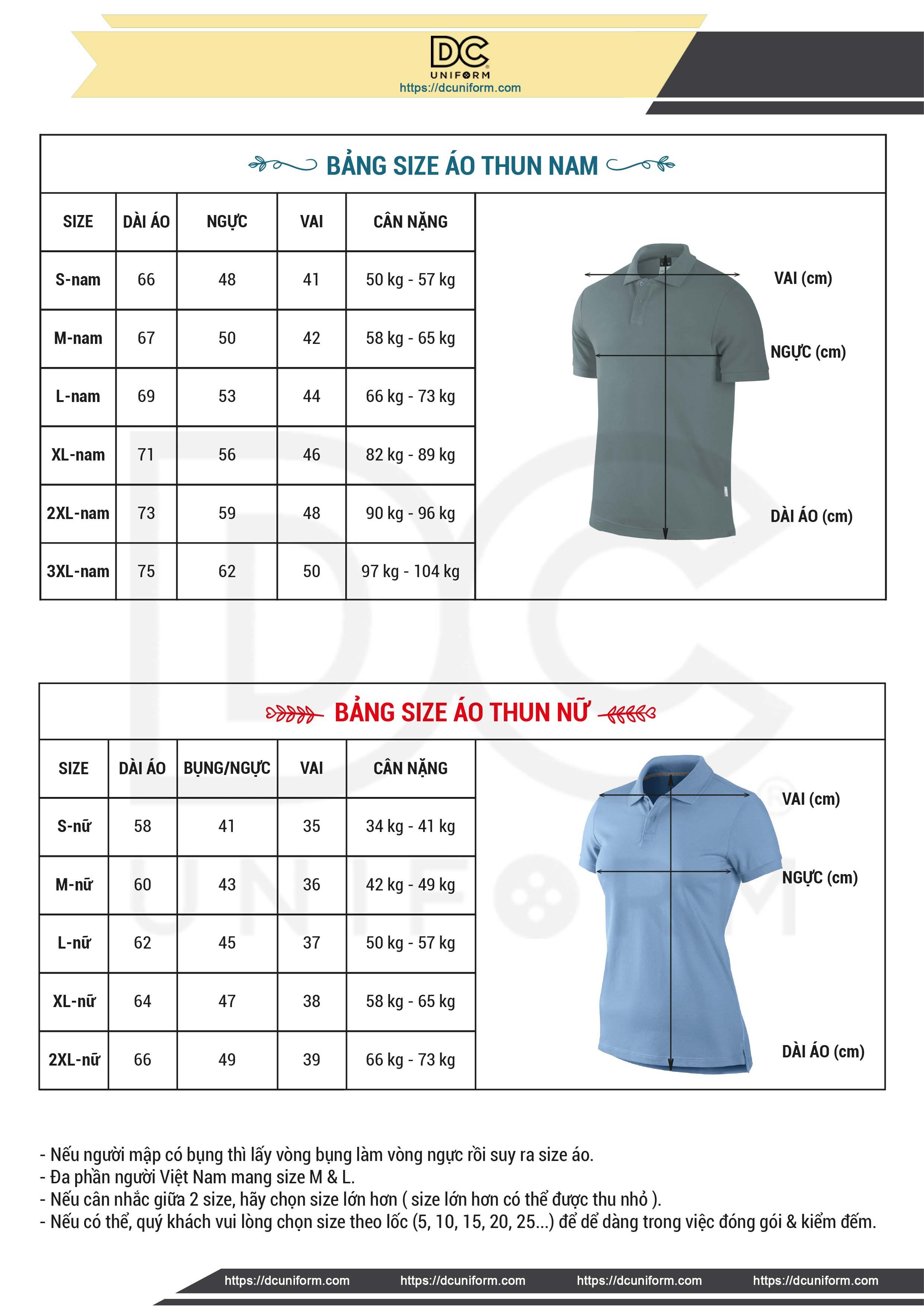 May đồng phục DCUniform bảng size áo thun đồng phục chuẩn